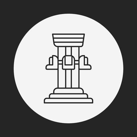 caida libre: icono de línea torre de caída parque de diversiones Vectores