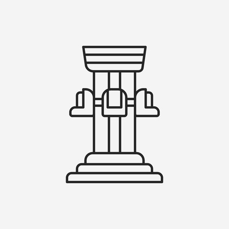 freefall: amusement park drop tower line icon