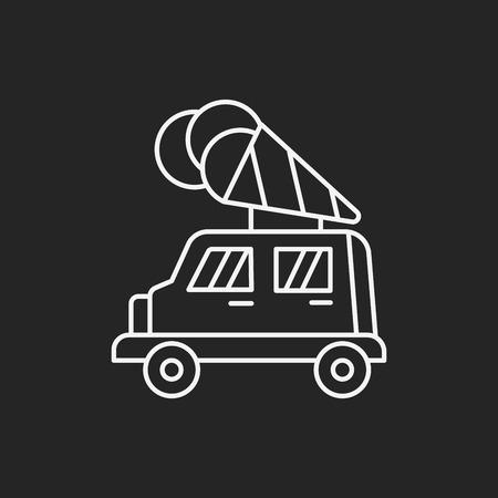 helado caricatura: helado icono línea del coche Vectores