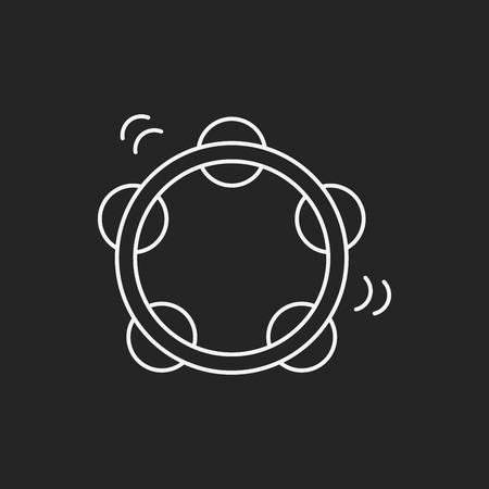 lute: Tambourine line icon Illustration