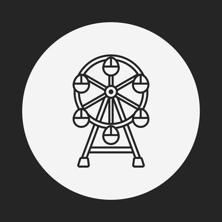 ferris: Ferris wheel line icon Illustration