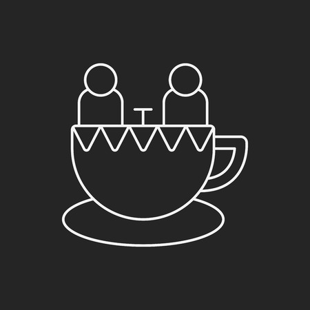 coffeecup: amusement park coffee-cup line icon
