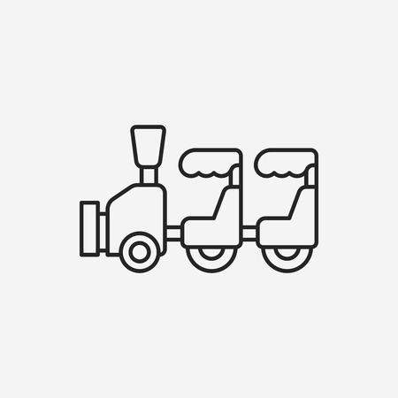 amusement park black and white: amusement park train line icon Illustration