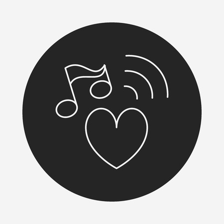 design media love: music line icon Illustration