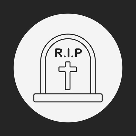 rest in peace: Grave line icon