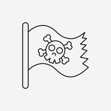 cross bone: pirate flag line icon