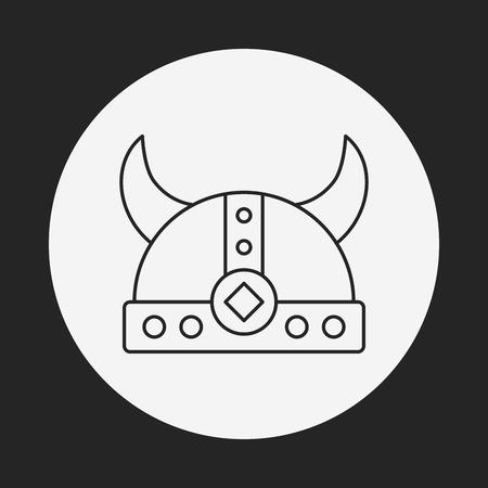 warriors: Warriors cap line icon Illustration
