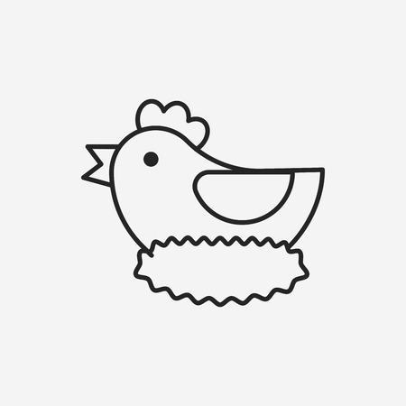 chicken line icon