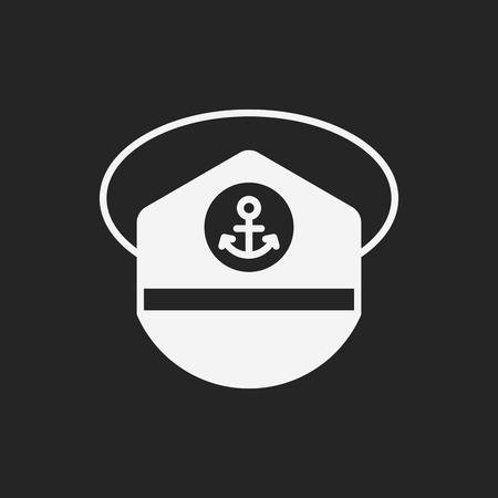 seaman: captain hat icon Illustration
