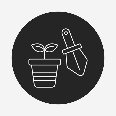 potted: Potted plants line icon