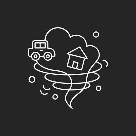 storm damage: Tornado line icon Illustration