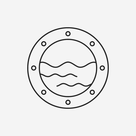 porthole window: boat window line icon
