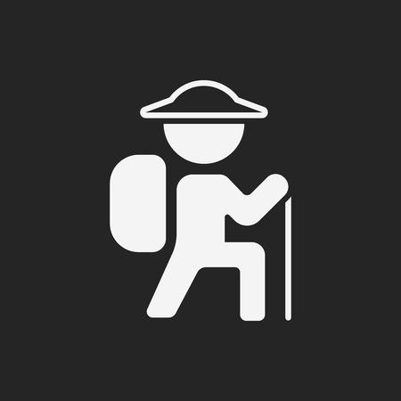 mountain silhouette: climbing icon Illustration