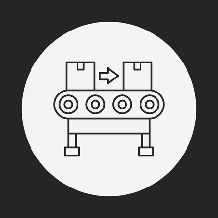 packaging equipment: Cargo conveyor line icon Illustration
