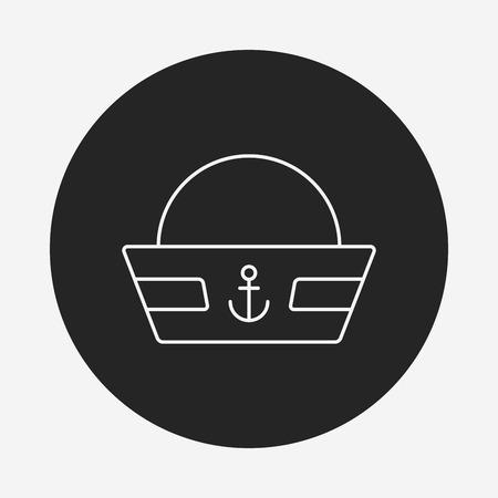 captain hat: captain hat line icon Illustration