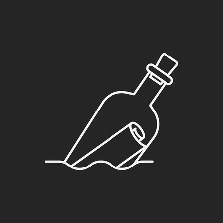 message in the bottle: Message in a Bottle line icon