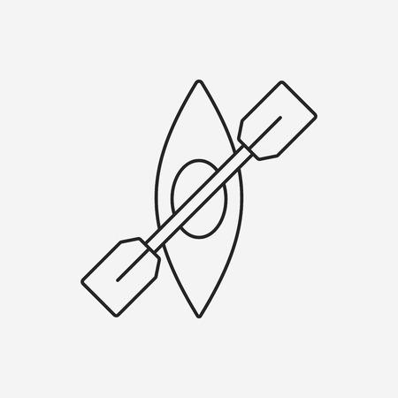 black white kayak: Canoe line icon