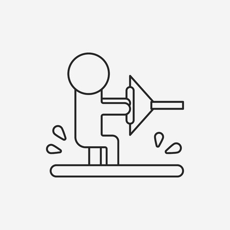 water skiing: Water skiing line icon