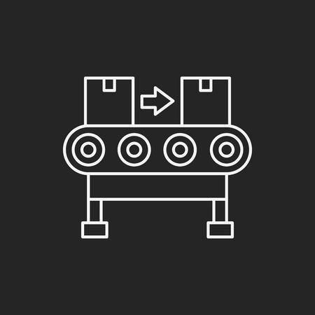 fliesband: Cargo conveyor line icon Illustration