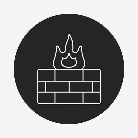 firewall: Firewall line icon Illustration