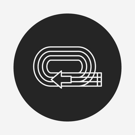 olympic stadium: Playground track line icon Illustration