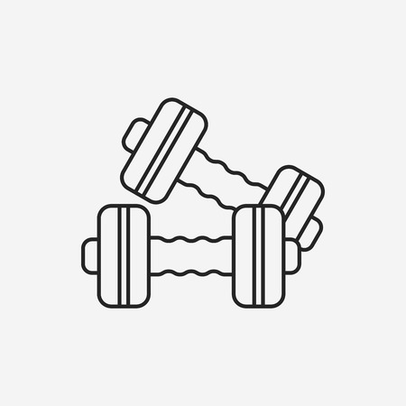 hand with dumbbell: Dumbbell line icon
