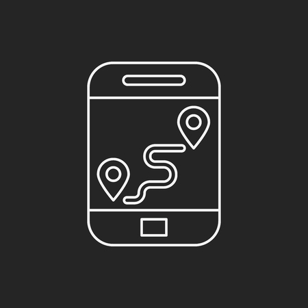 gps device: cellphone map line icon Illustration