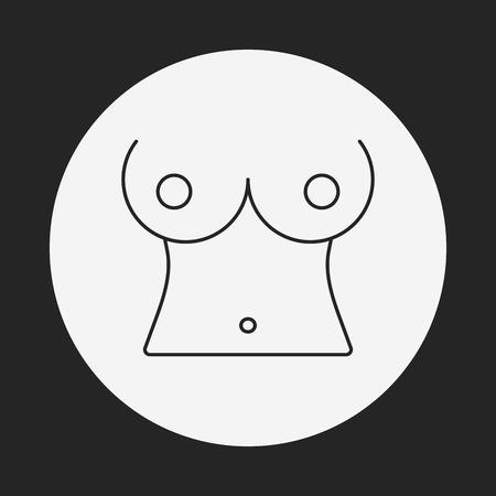 nude girl: breast line icon