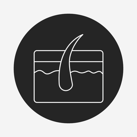 sensory: Hair root line icon Illustration