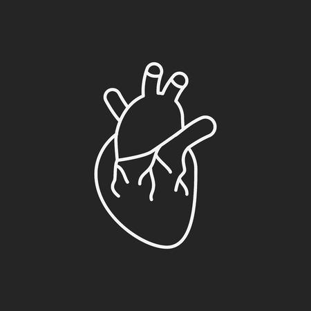 human vein  heartbeat: organ heart line icon Illustration