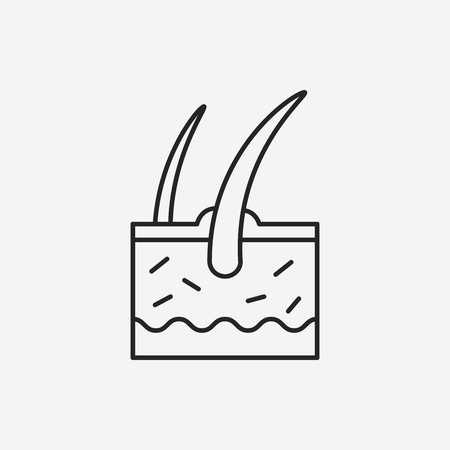 epidermis: Hair root line icon Illustration