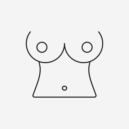 boobs: breast line icon