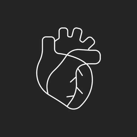 with aorta: organ heart line icon Illustration