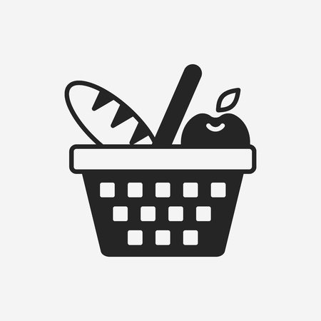 apples basket: picnic basket icon