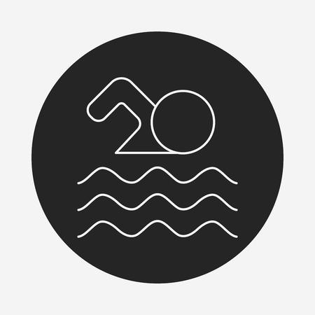 team sports: icono de la línea de natación
