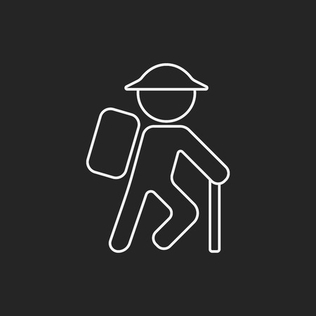 person reading: hiking line icon