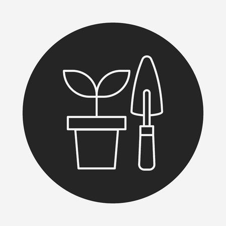 gardening: Gardening shears line icon Illustration