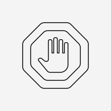 stop icon: stop sign line icon