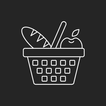 banana bread: picnic basket line icon