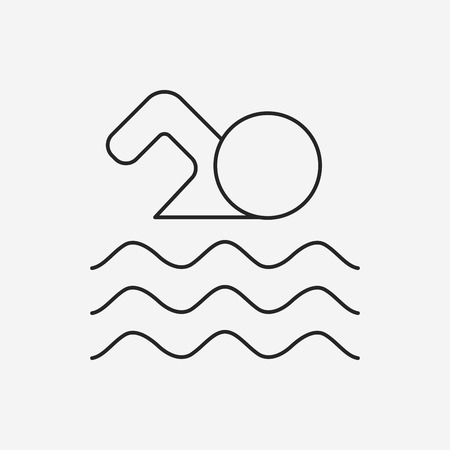 deportes colectivos: swimming line icon Vectores