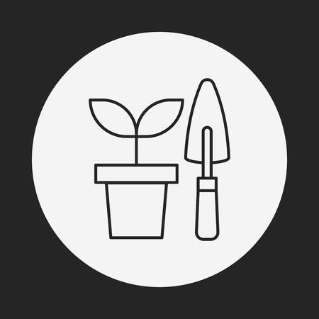 shears: Gardening shears line icon Illustration