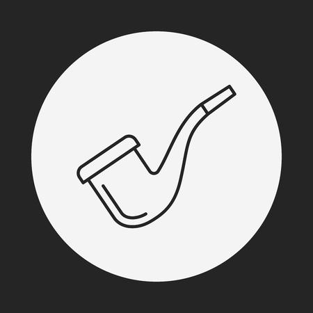 tobacco: Tobacco pipe line icon Illustration