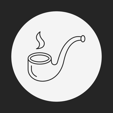pipe line: Tobacco pipe line icon Illustration