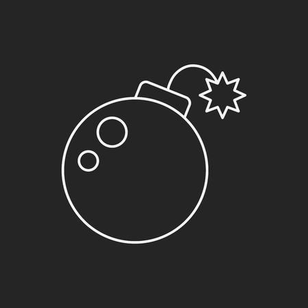 cannon ball: Cannon bomb line icon