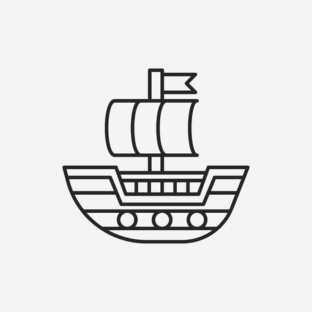 pirate ship line icon