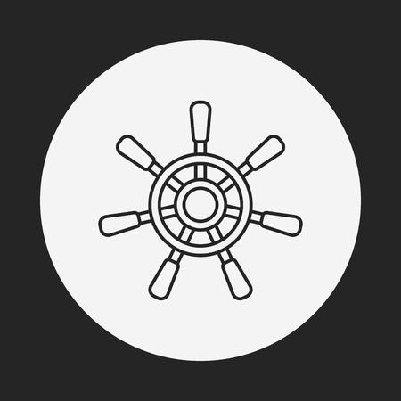 Steuerruder: Rudder line icon Illustration