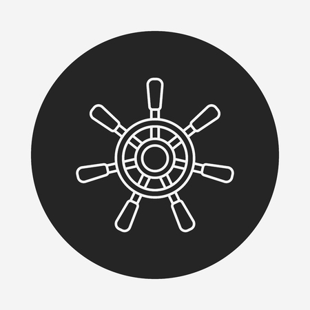 ruder: Rudder line icon Illustration