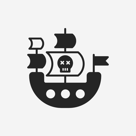 pirate skull: icono de barco pirata
