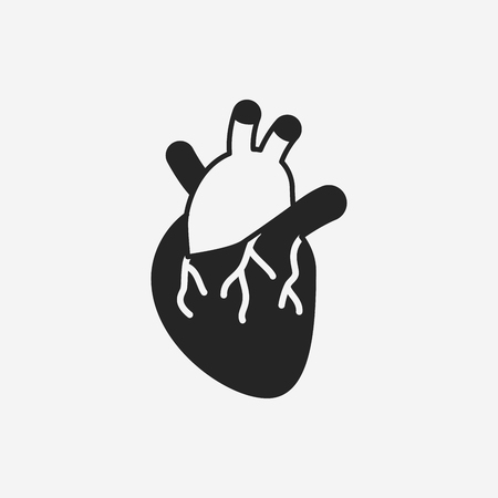 with aorta: organ heart icon Illustration
