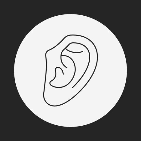 deafness: ear line icon